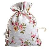 50Pcs Floral Burlap Drawstring Bags, Linen...