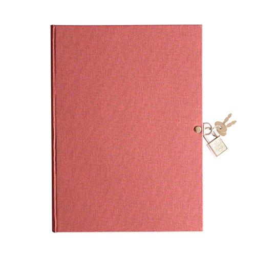 Pepa Paper - Libro diario candado A5, Alta calidad, diario secreto con candado de llave, disponibe en 5 colores, diario personal con candado(Rosa Vintage)