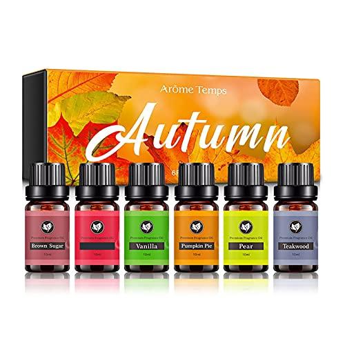Juego de aceites esenciales – 6 aceites aromáticos puros para difusor, aromaterapia, juego de regalo para humidificador, aceites esenciales para velas de masaje y jabón
