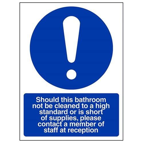 VSafety 43068AN-S Obligatorisk allmän skylt, självhäftande, badrumsrenlighet/informera en medlem av anställda, porträtt, 150 mm x 200 mm, blå