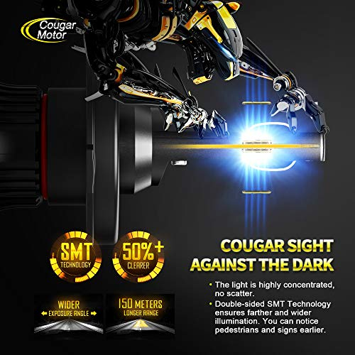 Cool White CREE All-in-One Conversion Kit 9003 Hi//Lo Cougar Motor X-Small H4 LED Headlight Bulb 10000Lm 6500K