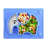 SILIVO Baby Suction Placemat Non-Slip Silicone Baby Plates with Suction Cups Fits Most Highchair Trays - 10'x7.7'x1'