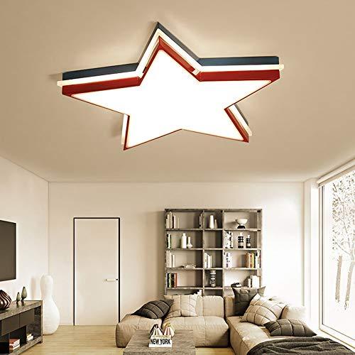 LED Lampes de plafond chambre Pentacle moderne Mode Lumière de décoration de plafond, les enfants Lumières de la chambre avec Abat-jour en acrylique pour Garçons et filles,Red,Warmlight
