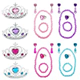 Elesa Miracle Girl Kids Dress Up Tiaras Necklace Bracelet Clip on Earrings Toy Playset, Pink,Purple,Blue