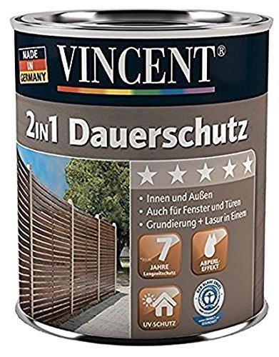 VINCENT 2in1 Dauerschutzlasur Dickschichtlasur mit Abperl-Effekt Innen & Außen 2,5 L, Farbton Wählbar, Farbe:Kastanie