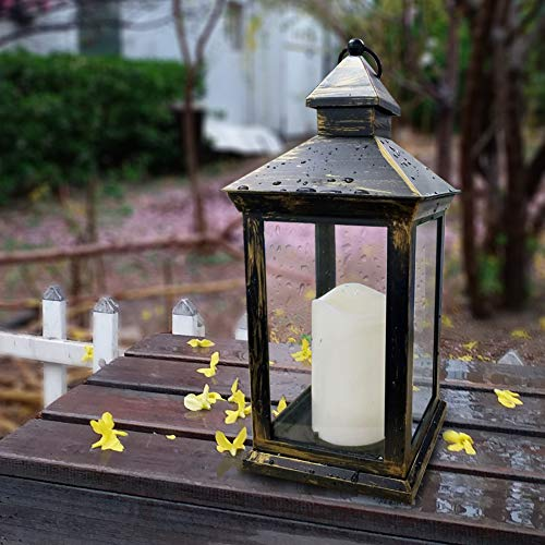 """Bright Zeal BZY 14"""" Tall Vintage Decorative Lantern with LED Pillar Candle (Bronze, Batteries Included) - Outdoor Lanterns Decorative Hanging - Battery Lantern Candle Holder - Vintage Candle Lantern"""