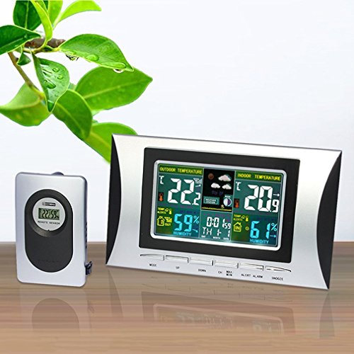 Wetterstation Weather Stations Wireless Multi-Use Bunte LCD-Display Digital Wecker Wetterstation Innenthermometer Wettervorhersage