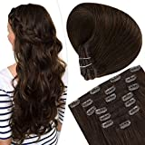 Clip in Hair Extensions #4 Dark Brown Straight Hair Extensions Natural Hair Clip in Extensions 7pcs/100g 14 Inch Brown Clip on Hair