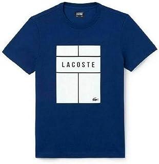 Lacoste Mens Crewneck Cotton T-shirt, Inkwell/White-Black, 7/XXL