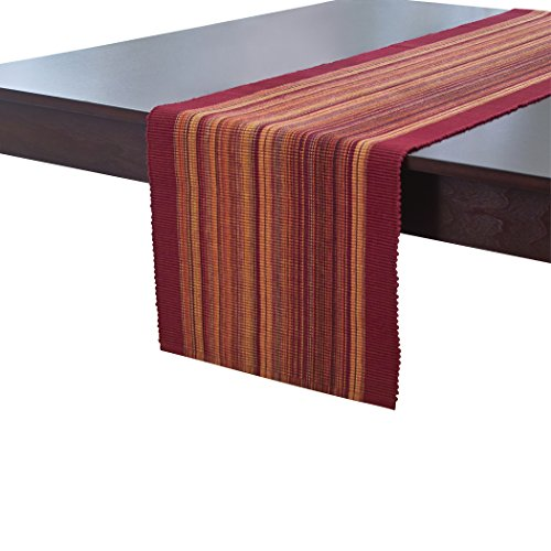 Elrene Home Fashions Camino de Mesa de algodón, Casual, clásico, a Rayas, 33 x 183 cm, Color Rojo, Casual, Rojo, 13' x 72', 1, 1