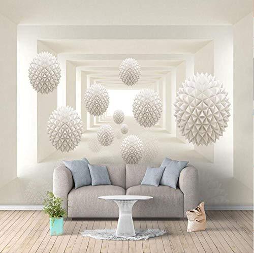3D vliesbehang personaliseerbaar kunstschilderij 3D fotobehang modern eenvoudige creatieve ontwerpen stereoscopische ruimte ronde bal grote wand muurschildering kunst behang 350 x 245 cm.