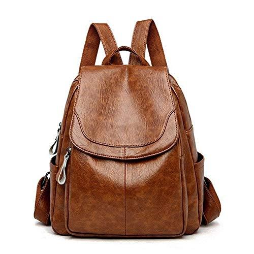 L-sister Mochila de Cuero para Mujer Diseñador Bolsos de Hombro para Mujeres Gage Pack Bolsas Escolares para niñas Adolescentes Estilo único (Color : Brown, Size : XL)