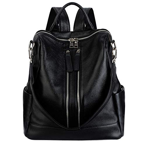 YALUXE Women's Convertible Real Leather Backpack Versatile Shoulder Bag (Upgraded 2.0) Black