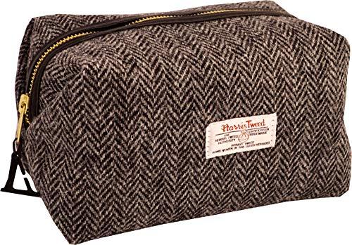 Vagabond Bags Ltd Harris Tweed Herringbone Medium Boxy Holdall Trousse de Toilette, 23 cm, Noir (Black & White Tweed)
