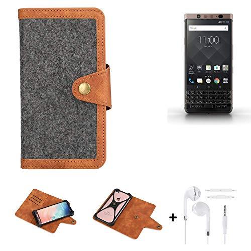 K-S-Trade® Handy-Hülle + Kopfhörer Für BlackBerry KEYone Bronze Edition Schutz-Hülle Filz-Hülle Kunst-Leder Dunkelgrau Braun (1x)