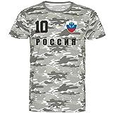 Nation Rusia - Camiseta de Camuflaje (número 10) Camuflaje XXL
