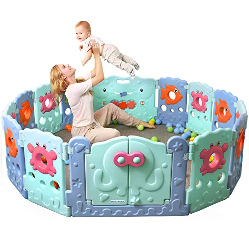 Doctor Dolphin Foldable Baby Playpen  Play Gate for Toddler Play Yard Ocean World Play Yard Panel 12 Panels1 Gate1 Toy Board