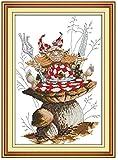TSUKINOLL Kit de Punto de Cruz de conteo DIY Kit de Manualidades de Bordado Flor de Setas Kit de Inicio de Bordado de Serie Completa 11CT Tejido de Costura para Adultos Niños Principiante 40