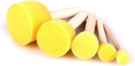 Teabelle - Juego de 5 brochas de Pintura con Sello de Esponja para niños, Mango de Madera, Pinceles de Pintura