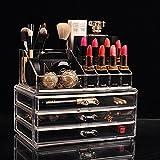 Organizador Porta Maquiagem Pincel Batom Acrílico Kit de 3 Gavetas