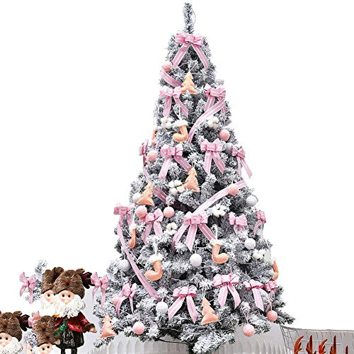 ZLJ 4FT Artificial Christmas Tree with Lighted Snow/Flocked Christmas Tree Zippered Eco-Friendly PVC Fir Tree with LED Lights and Ornaments for Christmas Decorations-Pink 4 Feet (120cm)
