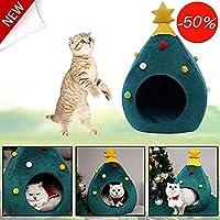 VIMICOO クリスマスツリー造形猫ハウス ペットベッド 可愛い ドーム型 四季適用 おもしろい