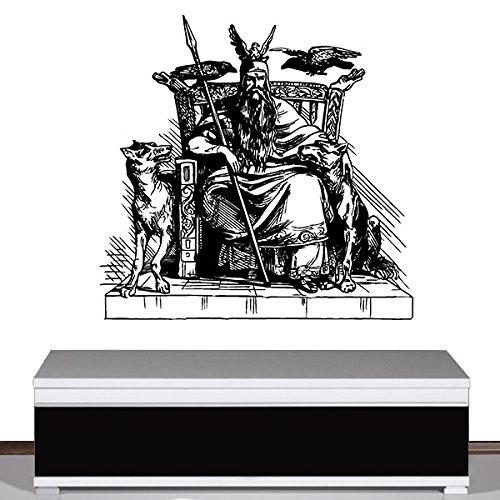 Copytec Wandtattoo - Odin Wikinger Mythologie Thron Geschichte Gott Hugin und Munin Wolf Deko Aufkleber Wandsticker 46x45cm #7733