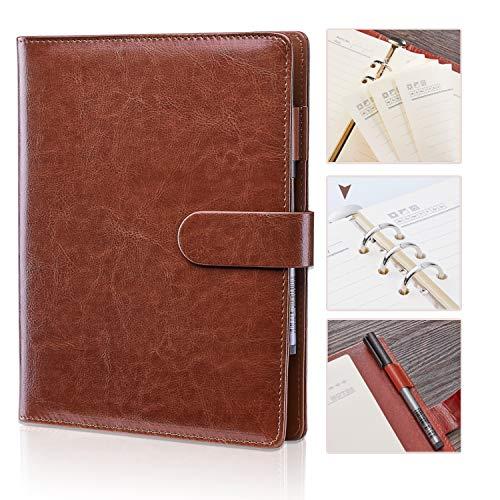 Maruelous Notebook A5 con Tasca e Penna Inclusa, Taccuino Classico, Quaderni per Aziende/Incontro/Scuola/Disegno, 200 Pagine, 23.5 cm x 18 cm (Marrone)