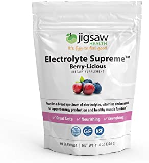 Jigsaw Health - Electrolyte Supreme Powder Drink Mix - Broad Spectrum of Electrolytes + Trace Minerals - 60 Servings (Berry, Packets)