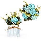 Flores artificiales para decoración de hortensias artificiales con pequeño jarrón de cerámica, mini maceta para bodas, fiestas, oficina, hogar, decoración de mesa (azul)