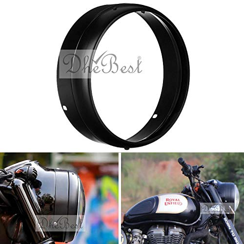 Dhe Best Bike Heavy Duty Metal Headlight Ring Cover Inner & Outer Ring for Head Light Grill Compatible for Royal Enfield Models