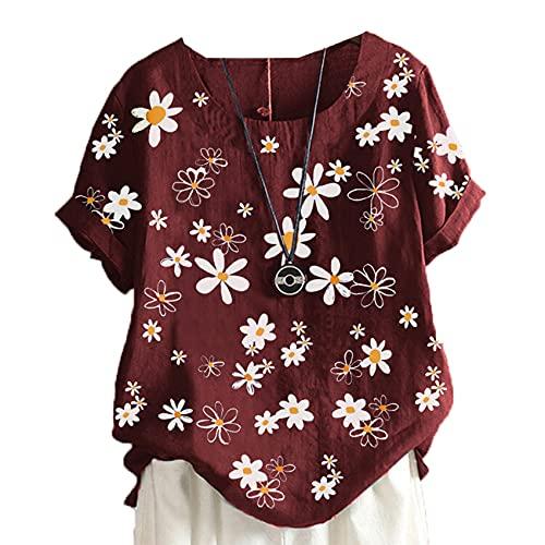 Verano Mujer Estampado Floral Cuello Redondo Pullover Mujer Suelta Camiseta De Manga Corta Mujer