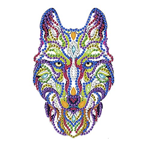 LED Diamond Painting Night Light Special Shaped Diamonds Bedside Desk Table Lampd Decoration Colored Wolf Head 9.8x13.8 in 1 Pack by Toyvip