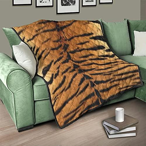 AXGM Colcha de microfibra con estampado de tigre, 230 x 280 cm, color blanco