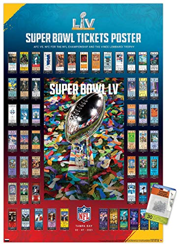 NFL League - Super Bowl LV - Tickets Wall Poster with Pushpins