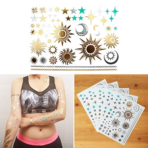 COKOHAPPY 5 Sheets Metallic Temporary Tattoo 150+ Sun Moon Star Gold Silver Shine Beach Armband