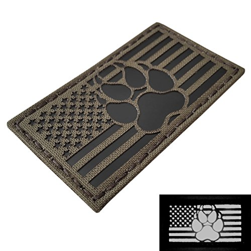 IR Ranger Green USA Flag K9 Dog Handler Paw K-9 Infrared Tactical Morale Touch Fastener Patch