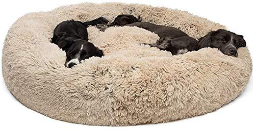 Shag Fuax Fur Donut Cuddler für Kleiner Mittel Groß und extra großer Hund & Katzen,Deluxe Hundekissen für Hunde und Katzen, weich, waschbar,L(80*80*18CM)