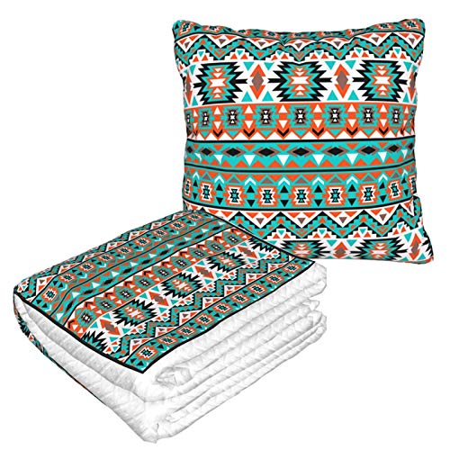 YISHOW Colorful Navajo Tribe Warm Ultra Soft Fleece Couch Travel Chair Throw Pillow Blanket for Women Men Livingroom Bedroom Camping Cars Airplane