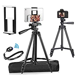 top rated PEYOU is compatible with iPad iPhone tripod, 50 inch + lightweight aluminum phone camera tablet tripod … 2021