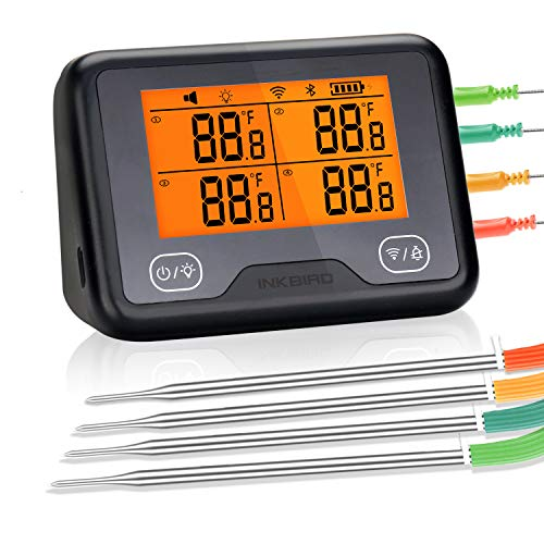 Product Image 1: Inkbird Wi-Fi & Bluetooth IBBQ-4BW, Wireless BBQ Thermometer with 4 Probes, Android&iOS