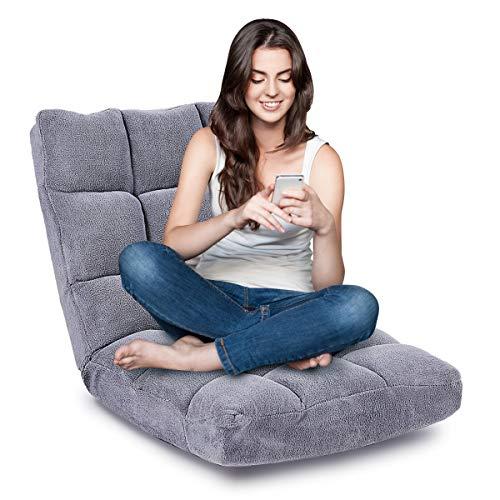 DREAMADE Bodenstuhl 14-stufig verstellbar, Sitzkissen für Innenraum, Sitzsack Sofa Bodenkissen, Sitzmatte mit Rückenlehne, Faules Sofa, Bodensessel faltbar Meditationsstuhl (Grau)