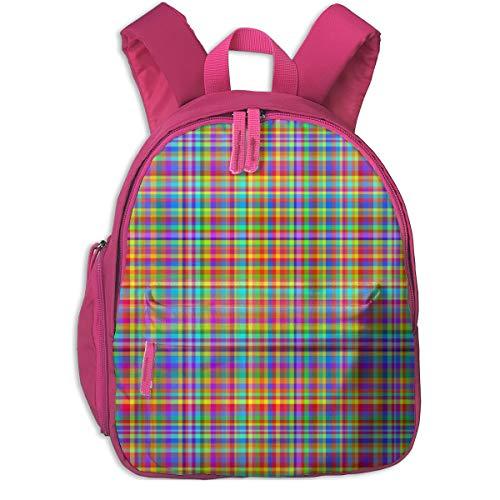Kinderrucksack für Mädchen, Rainbow Plaid - Pride Plaid - Multicolor Plaid_5683 - lierre, Für Kinderschulen Oxfordstoff (pink)