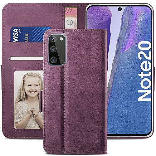 YATWIN Handyhülle Samsung Galaxy Note 20 Hülle, Klapphülle Samsung Note 20 Premium Leder Brieftasche Schutzhülle [Kartenfach] [Magnet] [Stand] Handytasche Hülle für Samsung Note 20 5G, Weinrot