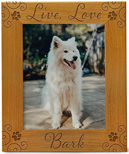 Cedar Crate Market Live Love Bark Pet Picture Frame Engraved Natural Wood, Fits a 8x10 Vertical Portrait, Dog Picture Frame, Dog Mom Gifts