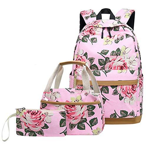 Zokrintz Women Casual School Backpack Set Floral Travel Daypack Teens Bookbag Girls Schoolbag