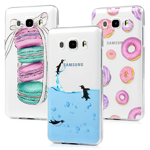 MAXFE.CO 3X Custodia per Samsung Galaxy J5 2016 5.2', Cover Silicone Morbido Trasparente Case TPU Gel Ultra Sottile Cassa Protettiva Design per Samsung J5 2016 - Penguin, Macarons, Cerchi Colorati