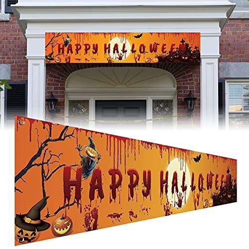 Faffooz Banner de Feliz Halloween Grande Halloween Pancarta de Tela Decoraciones para Fiestas de Halloween para Interior Intemperie Tienda Bar Halloween Artículos Decoración 250x49 cm