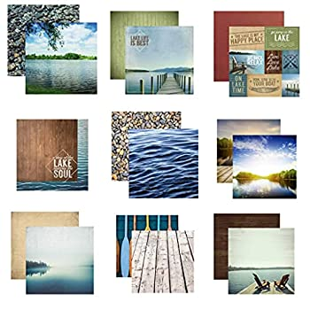 Custom Bundle Set of 9 Lake Life Themed 12  x 12  Scrapbook Papers - from Various Vendors