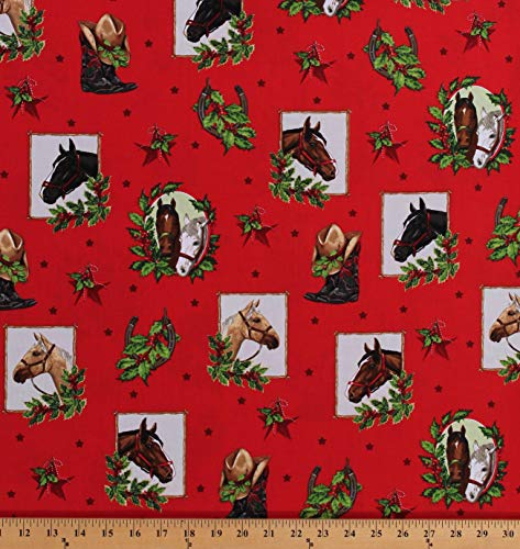 Cotton Christmas Horses Horseshoes Cowboy Boots Stars Western Cowgirl Holly Jolly Christmas 5 Red Cotton Fabric Print by The Yard (D500.31)